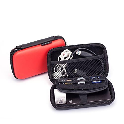 MystiTL Zubehör 2.5 Zoll Tragbare Reisetasche für Electronisches Zubehöre Organizer Case Tasche Tragetasche Wasserdicht für USB Drive Shuttel Festplatte, Rot