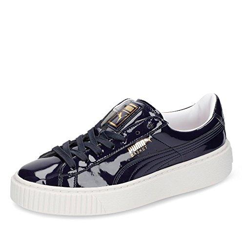 Puma Damen Basket Platform Patent Wns Sneaker Blau (peacoat-peacoat)