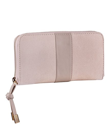 SIX Portemonnaie, Damen Portemonnaie, Geldbörse, Kunstleder, lang, groß, beige (703-364)