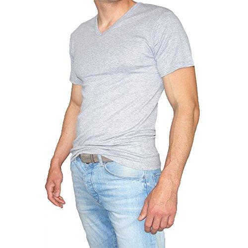 SGS 2-3 Er Pack T-Shirts Kurzarm mit V-Neck Ausschnitt Unterziehshirt Herren Unterhemd Baumwolle Uni Schwarz-Grau-Weiß von Grau - 3.Stück