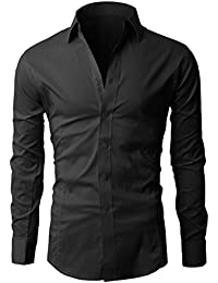 fcdf99d2b Lyon Becker Men's Shirts Long Sleeve Slim Fit Casual Formal Shirt Basic  Plain Dress Office PS01