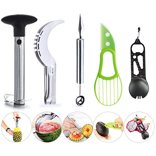 Hapree Fruit Slicer Peeler Set von 5 - Edelstahl Watermelon Slicer, Ananas Corer, Avocado Slicer, Carving Messer und Melone Baller Scoop, Strawberry Huller, Küchengeräte Gadgets Fruit Cutter Avocado-scoop