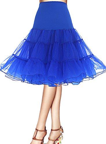 Größe Rockabilly Kostüme Plus (Bbonlinedress Organza 50s Vintage Rockabilly Petticoat Underskirt RoyalBlue)