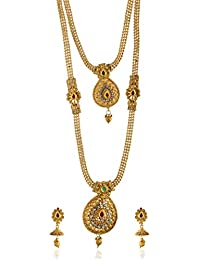 Reeti Fashions - Maroon And Green Stone Studded Beaded Chain Double Layer Necklace Set For Women (RF17_10C_74)