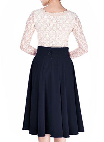 Miusol Damen Elegant Faltenrock Zweireiher Causal Business Vintage 1950er Jahr Roecke Navy Blau Gr.L -