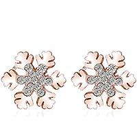 Lily Jewelry oro, a forma di fiocco di neve, da Frozen Edelweiss-Orecchini a perno da donna, confezione regalo