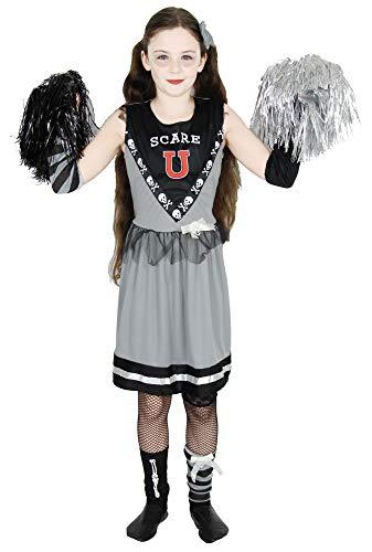 Kostüm Untote Cheerleader - Foxxeo Zombie Cheerleader Kostüm für Mädchen - Größe 110 -152 - zu Halloween Fasching Karneval Größe 146-152