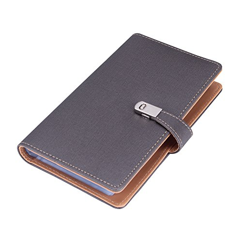 Visitenkartenmappe Visitenkartenbuch Leder mit Metallverschluss für Unternehmer Büro (240 cell-Grau)