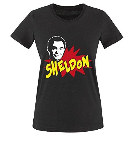 THE BIG BANG THEORY - Sheldon Cooper -Damen T-Shirt Schwarz/Weiss-Rot-Gelb Gr. XS