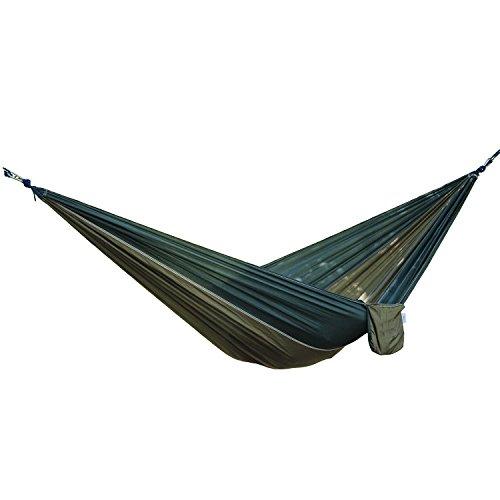 Campeggio portatile Hammock, singolo / doppio paracadute di nylon tessuto leggero ad alta resistenza Hammock Tree Bed con l'albero di cinghie per la corsa esterna Escursionismo Backyard Garden Beach