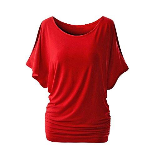 Blusen Damen Langarmshirt Sonnena Frauen Sommer Schulterfrei Bluse Kurze Ärmel Tops Schönes Oberteil Frühling Pullover Solid Hemd Sammeln Taille T-Shirt Sweatshirt Tuniken (L, Sexy Rot) (Crewneck Pullover Kurzarm Damen)