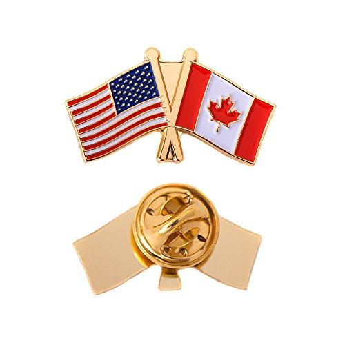 Anstecknadel mit Kanada-Flagge, Emaille mit USA-USA-US-Souvenir-Hut, für Herren und Damen, Patriotisch (Doppelflaggen-Anstecker)