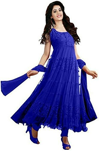 Lady Zone Women's Brasso & Net Salwar Suit (Blue Brasso B_Blue_Free Size,...
