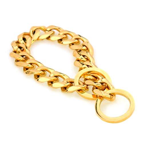 WEATLY Edelstahl-Haustier-Halsbänder für Hunde Haustier-Versorgungsmaterialien Hundehalsbänder für mittlere und große Hunde justierbar (Farbe : Golden, Size : 50CM) -