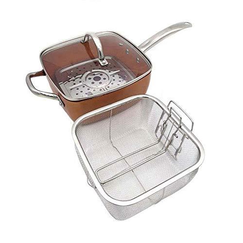 jiyy Kupfer Quadratische Pfanne Induktion Chef W/Glasdeckel Frittierkorb, Steam Rack 4 Stück Set, 9,5 Zoll In Induktion Verwendet