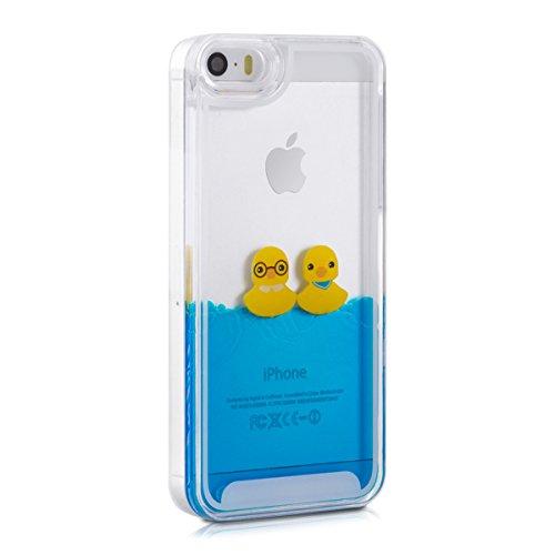 kwmobile Hülle für Apple iPhone SE / 5 / 5S - Hardcase Backcover Case mit Flüssigkeit Handy Schutzhülle - Cover mit Schneekugel Sterne Design in Rosa Transparent Enten Gelb Blau Transparent