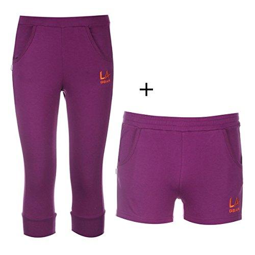 2er-set-la-gear-madchen-shorts-3-4-sporthose-jogginghose-kinder-freizeit-lila-146-152