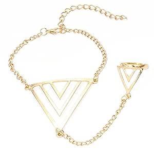 Fabula Jewellery Gold Fashion Bracelet with Fashion Ring for Women & Girls (BJD4) - Gold