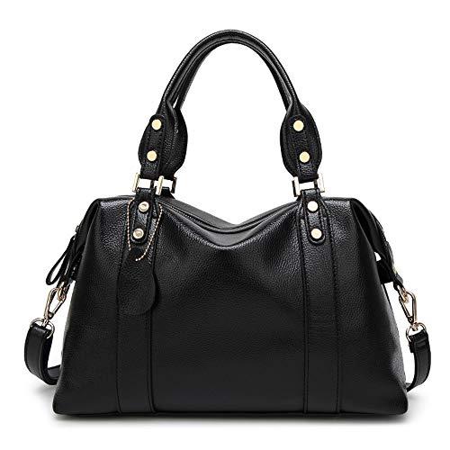 Griff Satchel Handtaschen Umhängetasche Messenger Tote Leder Geldbörsen Tasche Frauen Casual Handtasche Schulter-Handtasche (Color : Black) ()