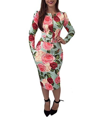 Energy Womens Slim Zip Up Long Sleeve Printing Dresses with Belted Pink M Black 3/4 Sleeve Belted