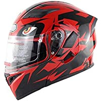 Kbsin212 Motorrad Integralhelm Helm Doppelspiegel Helm Anti Beschlag Atmungsaktiver Helm, Abnehmbares Futter Motorradhelm, Gummischutz Nase Für Männer Und Frauen