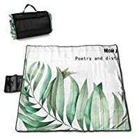 """MZZhuBao Tropical Leaf Poetry and Distance Extra Large Picnic Blanket 57"""""""" x59 Outdoor Water Resistant Sand Proof Beach Blanket Mat with Tote Bag for Travel Picnic Hiking"""