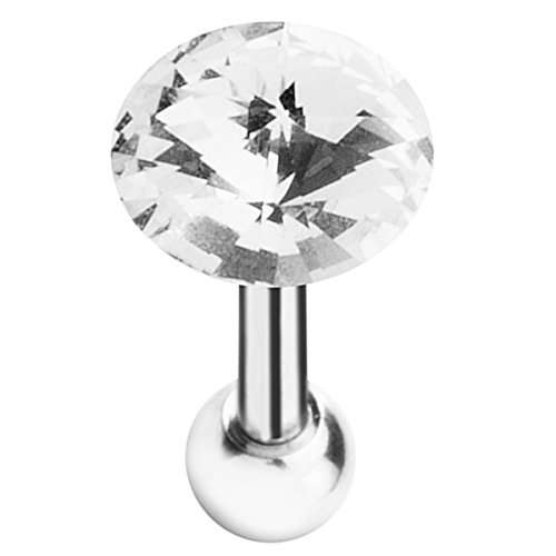 Piersando Tragus Piercing Helix Ohr Cartilage Knorpel Stab Stecker Edelstahl Kristall Kugel Clear