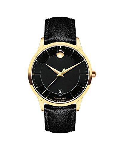 Movado 1881 Homme 39.5mm Bracelet Cuir Noir Saphire Automatique Montre 0607021