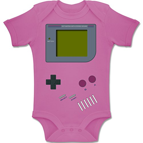 Shirtracer Strampler Motive - Gameboy - 12-18 Monate - Pink - BZ10 - Baby Body Kurzarm Jungen Mädchen (Baby Bauer Kostüm)