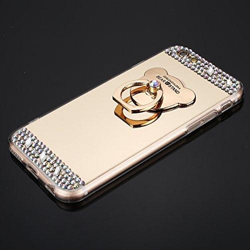 Custodia iPhone 6S 4.7 Cover iPhone 6 4.7,Ukayfe Lusso Custodia per iPhone 6 iPhone 6S UltraSlim Specchio Copertura Cover Case Protettiva con Bling Strass design,Moda Serie Completa Screen-Protector,S Doro con ring holder 3#