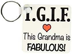 3dRose TGIF This Grandma is Fabulous, Red - Key Chains, 2.25 x 2.25 inches, set of 2 (kc_202946_1)