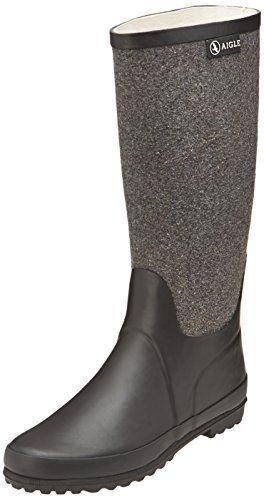 AigleVenise Feutre Gummistiefel - Stivali in gomma non imbottiti Donna , Multicolore (Mehrfarbig (Noir / Gris 9)), 37