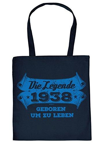 Stofftasche mit Geburtstagsmotiv: Die Legende 1938, geboren um zu Leben - Tasche - Einkaufstasche - Navyblau