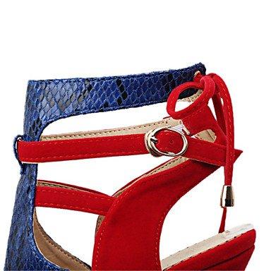 LFNLYX Donna Sandali estate altre novità vello Cuoi Abito casual Stiletto Heel fibbia Split Comune di pizzo nero rosso Altro Black