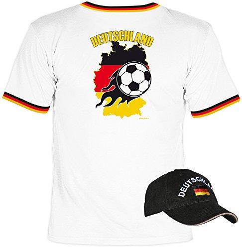 Deutschland Fussball Fun T-Shirt Flagge cooles Set mit Deutschland Kappe Männer Shirt für Fussballfans Weiß