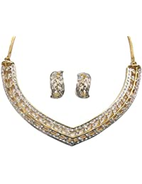 Crystal Elegance Necklace Set In CZ Crystal Diamonds With Gold & Rhodium Plated By Sempre Of London