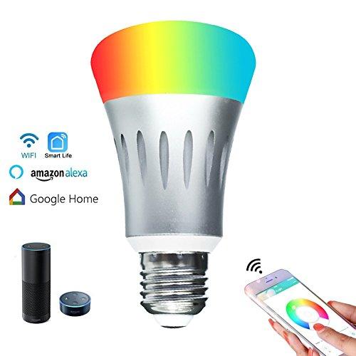 Stimmung Unterstützen (YZCX Smart LED WiFi Lampen 7W E27 Dimmbar Mehrfarbig RGBW LED Birne Glühbirnen ändern Stimmung Licht Arbeit mit IOS / Android / Tablet / Amazon Echo Alexa / Google Home, Steuerbar via App)