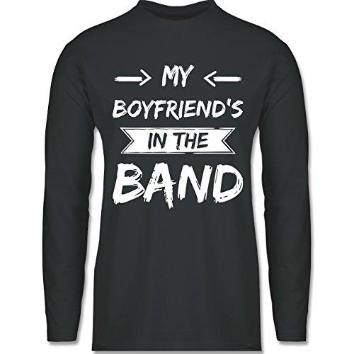 Shirtracer Statement Shirts - My Boyfriend's in The Band - Herren Langarmshirt Dunkelgrau