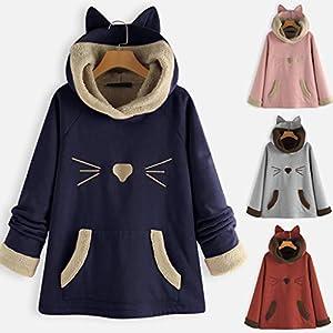Floweworld Damen Kapuzensweatshirt Lässig Niedliche Katzenohren Mit Kapuze Fleece Patchwork Karikaturdruck Tasche Hoodies Tops Blusen