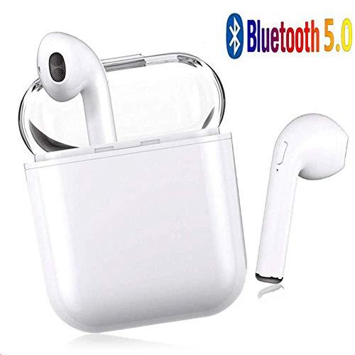 LYBH Cuffie Bluetooth, Cuffie Bluetooth 24 Ore di Riproduzione Cuffie Wireless Stereo 3D HD, accoppiamento Automatico delle chiamate binaurali, con Scatola di Ricarica per iPhone11 Android/AirPods