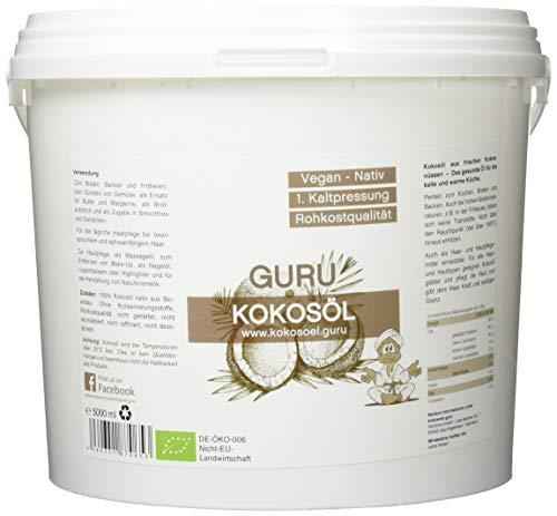 Guru Kokosöl nativ und naturrein -Bio Qualität- 1. Kaltpressung - Rohkost - Vegan - Bio-Kokosfett (5000ml PE-Dose)