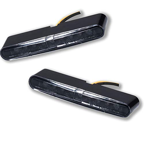 LED Motorrad Mini Micro Blinker Einbau Miniblinker Stripe schwarz zum Kleben 1 Paar