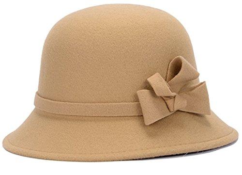 Belsen Damen Retro Prinzessin Fliege Zylinder Trilby Mütze Fischer Hut (Kamel) (Trilby Hut, Mütze,)
