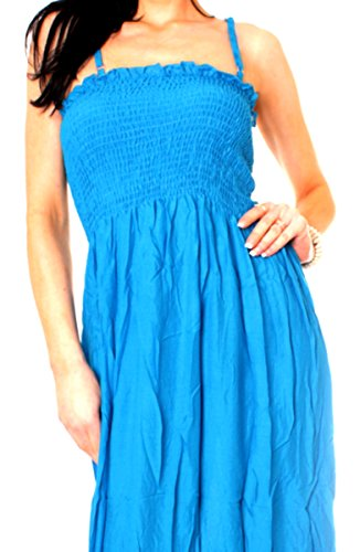 Easy Young Fashion Damen Kleid lang Maxikleid One Size Türkis