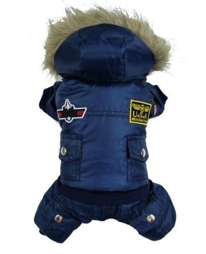Vlunt Hund warm Winter Hund-Mantel-Jacke USA AIR Force Wasserdicht pet Hoody Kleidung Fuer kleine ()
