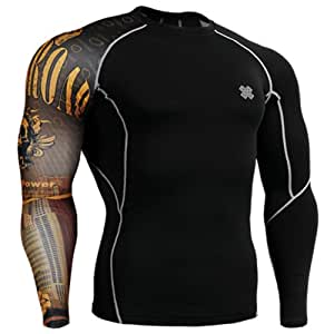 Fixgear Mens Womens Skin Tight Compression Base Layer Running Black Tee Shirts S
