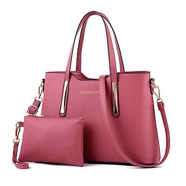 Faux Leder Medium Tote Tasche (Frauen Mode PU/Faux leder Messenger/Schulter Crossbody-tasche/Handtasche Tote, Dunkelrosa)