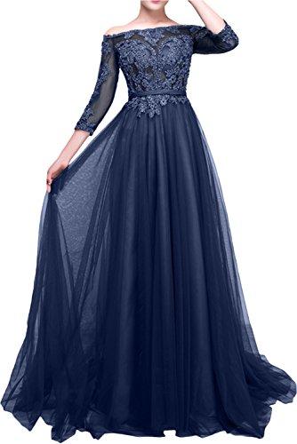 La_Marie Braut Langarm Spitze langes Abendkleider Ballkleider Partykleider Festlichkleider Damen Kleider Navy Blau
