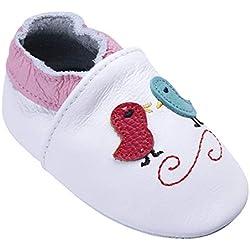 Chaussures de bébé en Cuir Souple avec Mocassins Semelles en Daim pour Enfants Chaussures Tout-Petit garçons Filles (6-12 Mois, Oiseau)