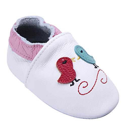 Weiche Leder Babyschuhe mit Mokassins Wildledersohlen für Kleinkinder Kleinkinder Jungen Mädchen Prewalker Schuhe (6-12 Monate, Vogel)